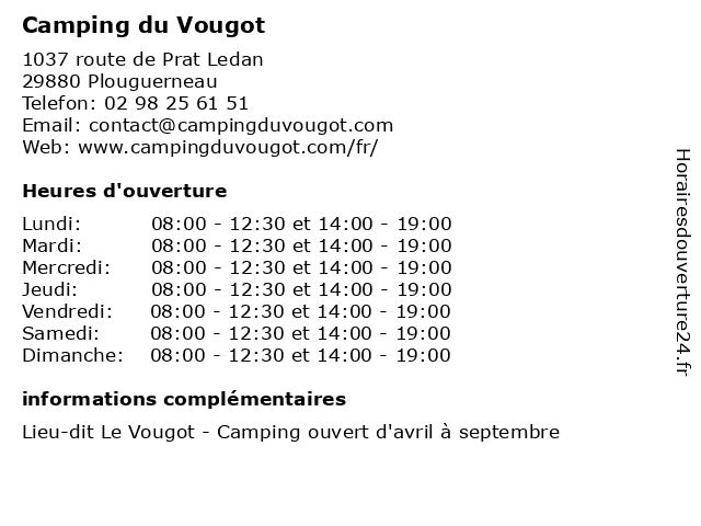 Camping du Vougot à Plouguerneau: adresse et heures d'ouverture