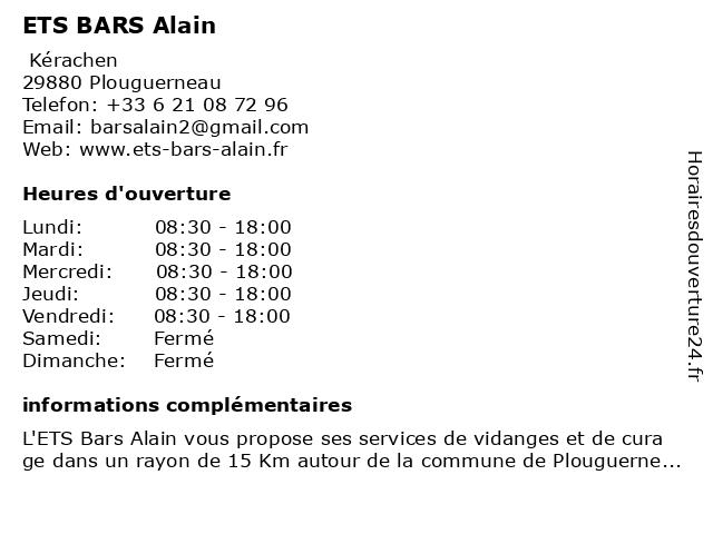 ETS BARS Alain à Plouguerneau: adresse et heures d'ouverture
