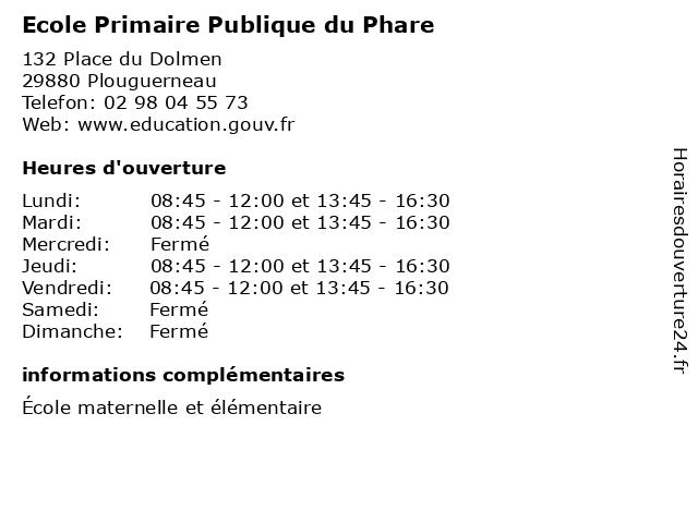 Ecole Primaire Publique du Phare à Plouguerneau: adresse et heures d'ouverture