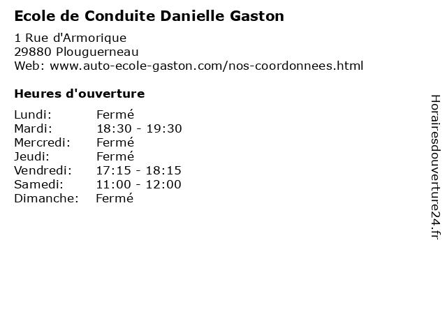Ecole de Conduite Danielle Gaston à Plouguerneau: adresse et heures d'ouverture