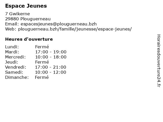 Espace Jeunes à Plouguerneau: adresse et heures d'ouverture