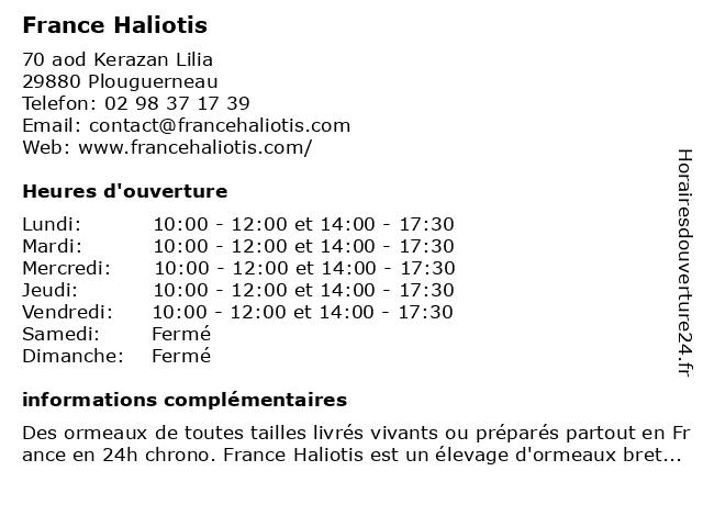 France Haliotis à Plouguerneau: adresse et heures d'ouverture