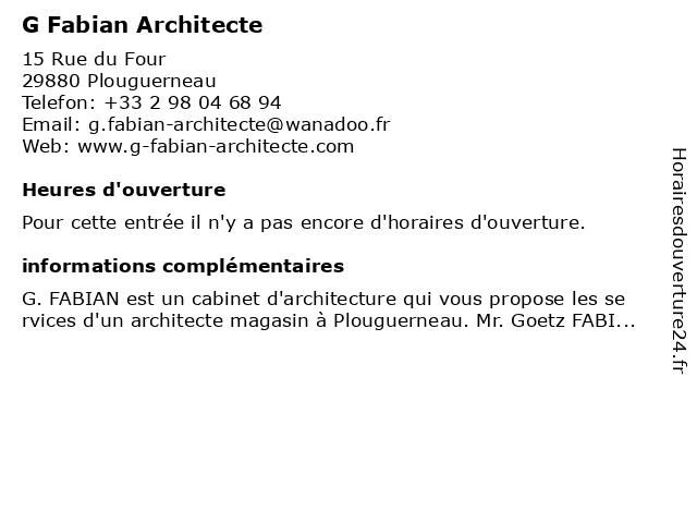 G Fabian Architecte à Plouguerneau: adresse et heures d'ouverture