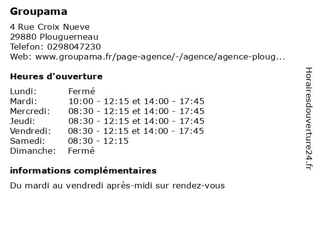 Groupama à Plouguerneau: adresse et heures d'ouverture