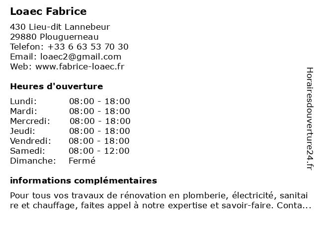 Loaec Fabrice à Plouguerneau: adresse et heures d'ouverture