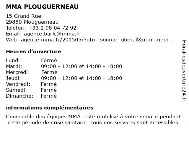 MMA PLOUGUERNEAU à Plouguerneau: adresse et heures d'ouverture