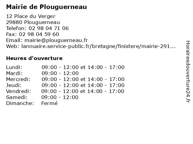 Mairie de Plouguerneau à Plouguerneau: adresse et heures d'ouverture