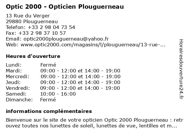 Opticien Optic 2000 Plouguerneau - Lunettes, lunettes de soleil, lentilles à Plouguerneau: adresse et heures d'ouverture