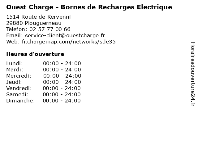 Ouest Charge - Bornes de Recharges Electrique à Plouguerneau: adresse et heures d'ouverture