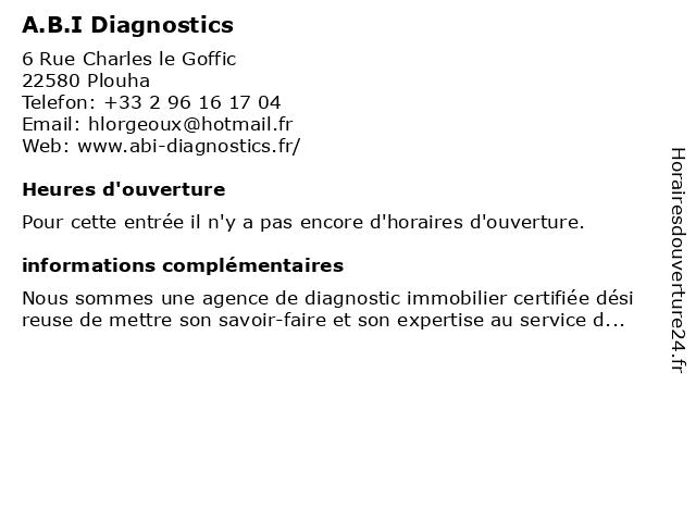 A.B.I Diagnostics à Plouha: adresse et heures d'ouverture