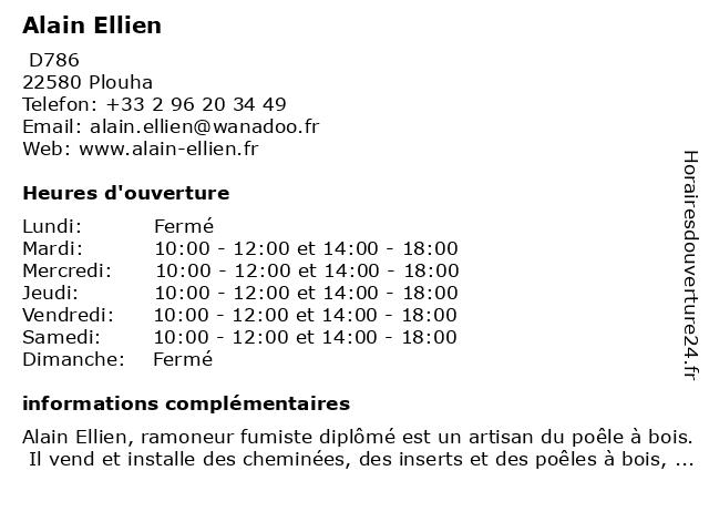 Alain Ellien à Plouha: adresse et heures d'ouverture