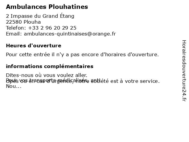 Ambulances Plouhatines à Plouha: adresse et heures d'ouverture
