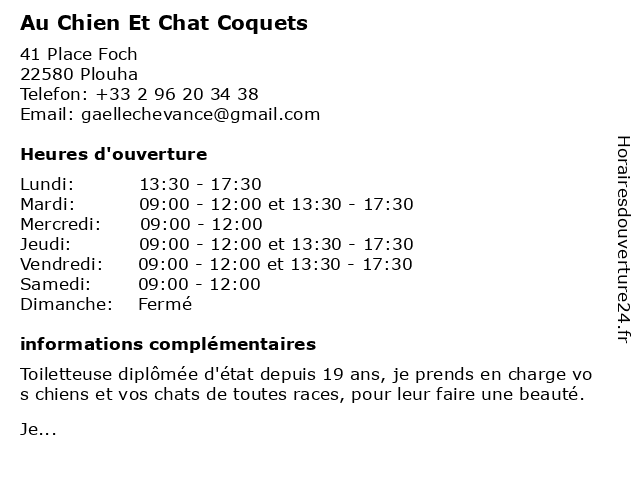 Au Chien Et Chat Coquets à Plouha: adresse et heures d'ouverture