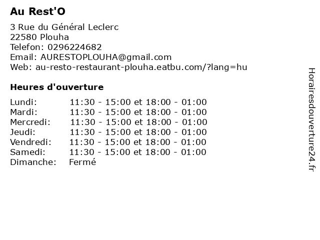 Au Rest'O à Plouha: adresse et heures d'ouverture