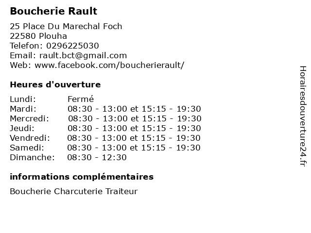 Boucherie Rault à Plouha: adresse et heures d'ouverture