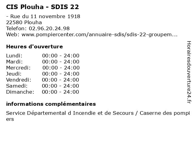 CIS Plouha - SDIS 22 à Plouha: adresse et heures d'ouverture