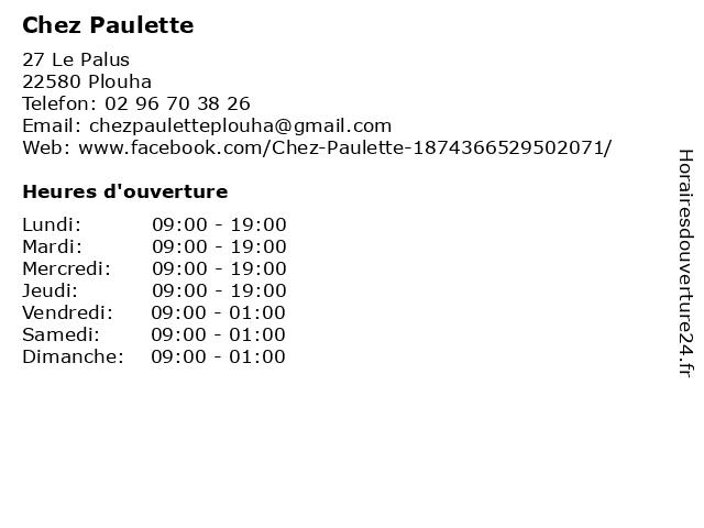 Chez Paulette à Plouha: adresse et heures d'ouverture