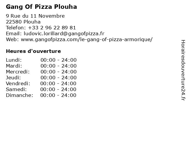 Gang Of Pizza Plouha à Plouha: adresse et heures d'ouverture