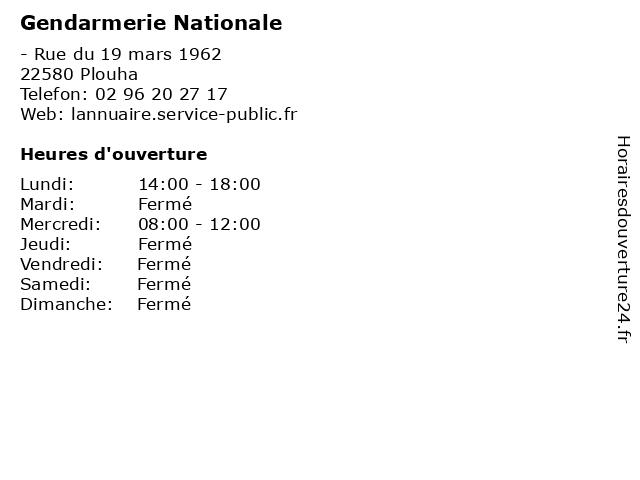 Gendarmerie Nationale à Plouha: adresse et heures d'ouverture