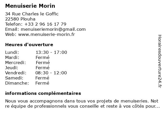 Menuiserie Morin à Plouha: adresse et heures d'ouverture