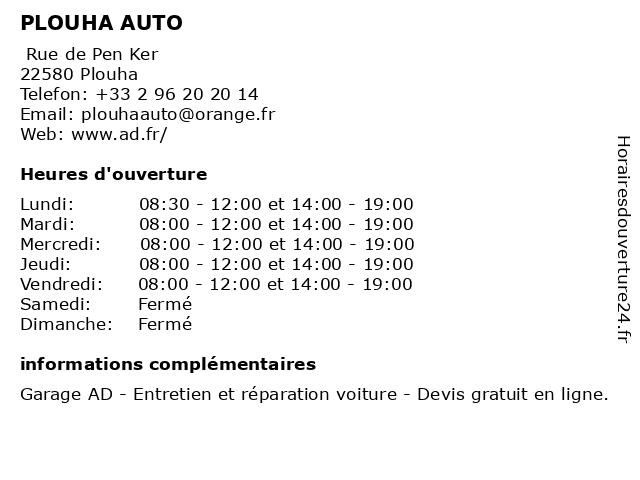 PLOUHA AUTO à Plouha: adresse et heures d'ouverture