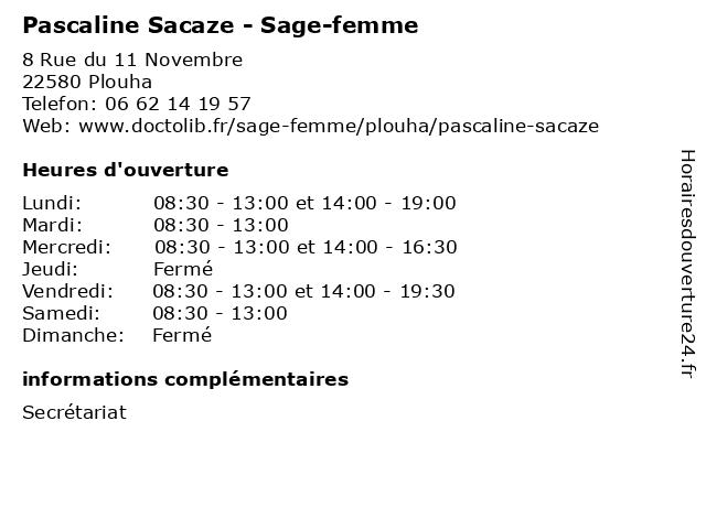 Pascaline Sacaze - Sage-femme à Plouha: adresse et heures d'ouverture