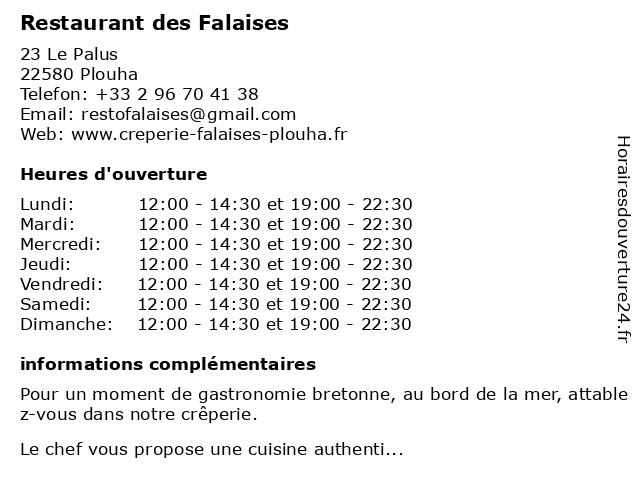 Restaurant des Falaises à Plouha: adresse et heures d'ouverture