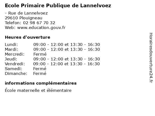 Ecole Primaire Publique de Lannelvoez à Plouigneau: adresse et heures d'ouverture