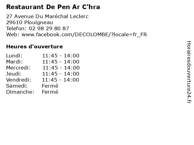 Restaurant De Pen Ar c Hra à Plouigneau: adresse et heures d'ouverture