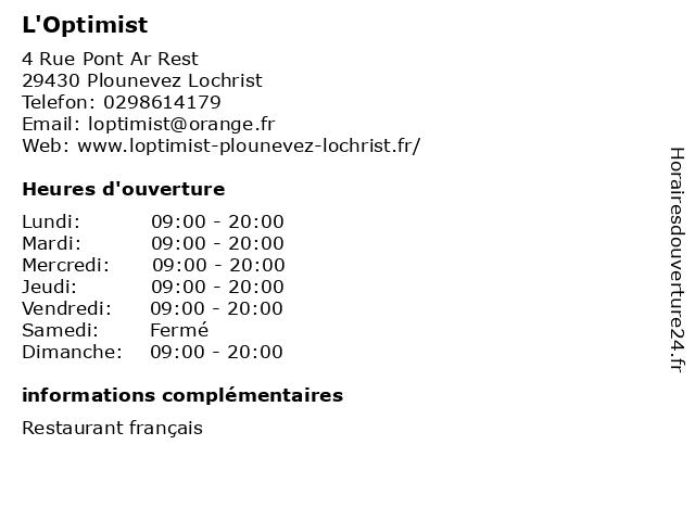 L'Optimist à Plounevez Lochrist: adresse et heures d'ouverture