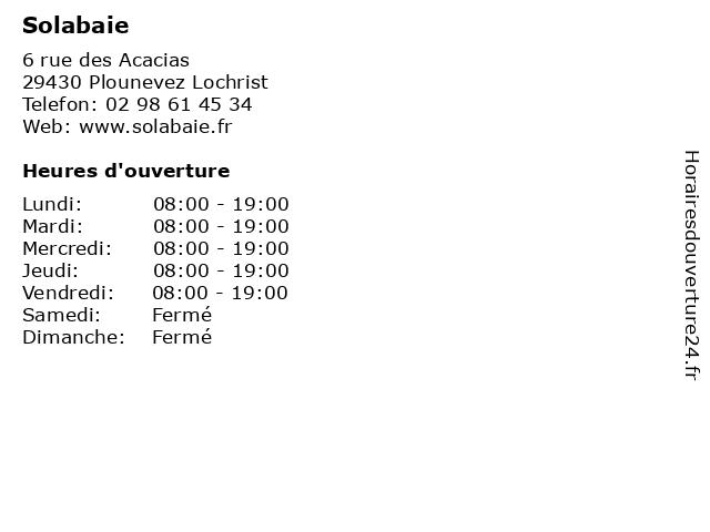 Solabaie à Plounevez Lochrist: adresse et heures d'ouverture