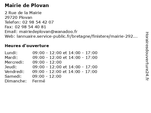 Mairie de Plovan à Plovan: adresse et heures d'ouverture