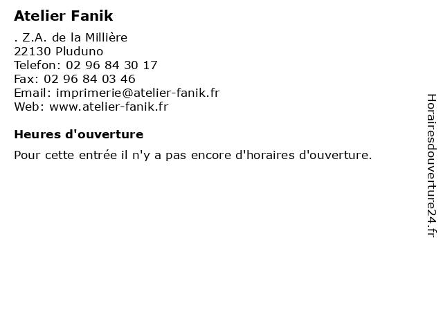 Atelier Fanik à Pluduno: adresse et heures d'ouverture