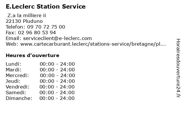 E.Leclerc Station Service à Pluduno: adresse et heures d'ouverture