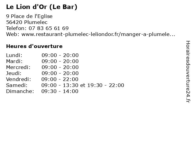 Le Lion d'Or (Le Bar) à Plumelec: adresse et heures d'ouverture