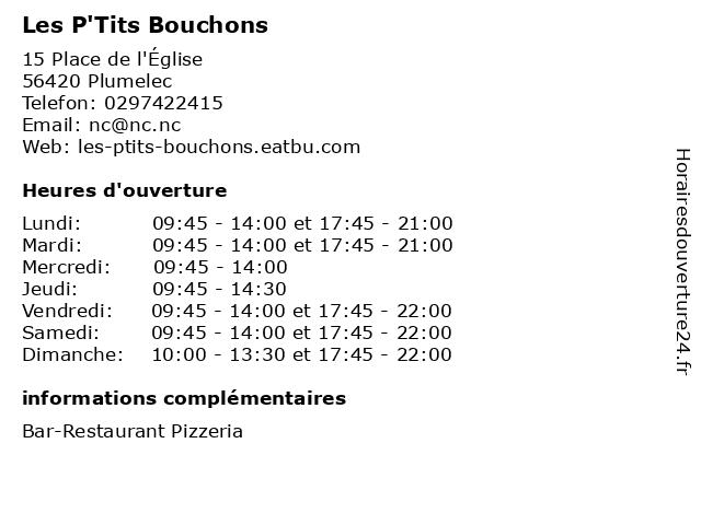 Les P'Tits Bouchons à Plumelec: adresse et heures d'ouverture