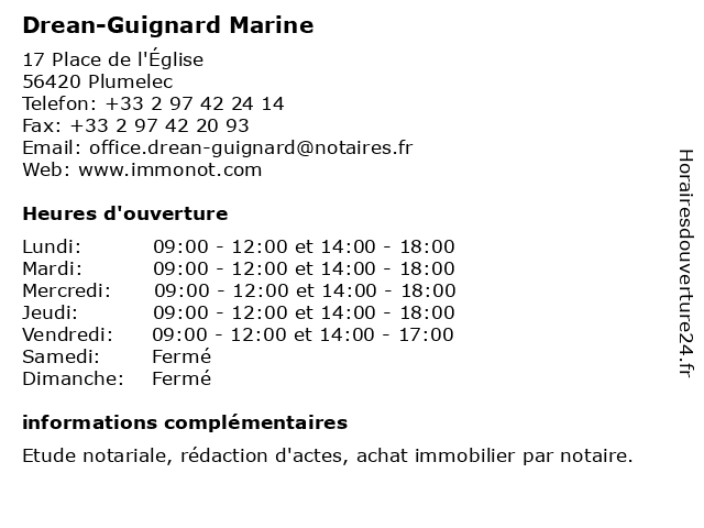 MARINE DREAN GUIGNARD NOTAIRE à Plumelec: adresse et heures d'ouverture