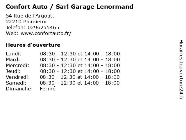 Confort Auto / Sarl Garage Lenormand à Plumieux: adresse et heures d'ouverture