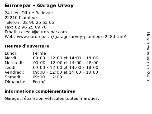 Garage Urvoy - Euro Repar à Plumieux: adresse et heures d'ouverture