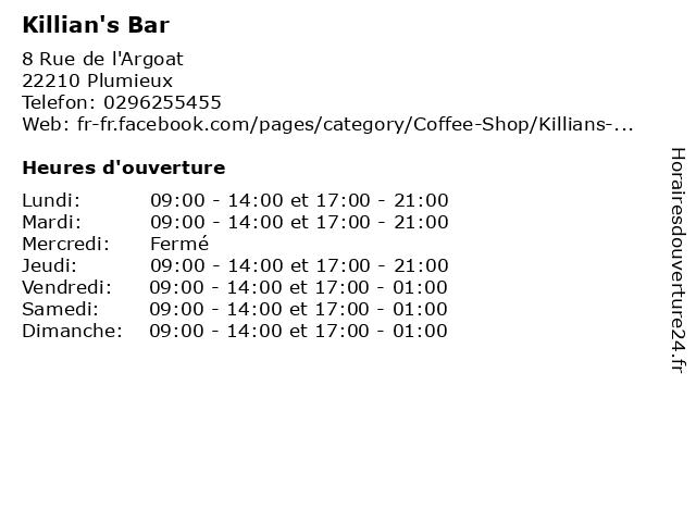 Killian's Bar à Plumieux: adresse et heures d'ouverture