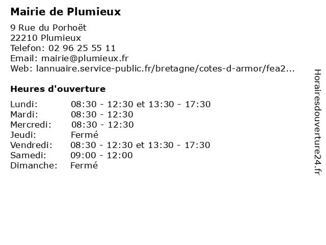 Mairie de Plumieux à Plumieux: adresse et heures d'ouverture
