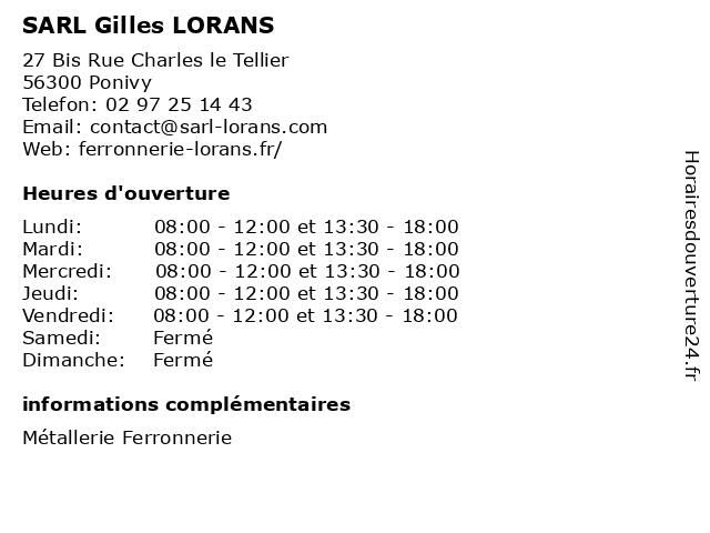 SARL Gilles LORANS à Ponivy: adresse et heures d'ouverture