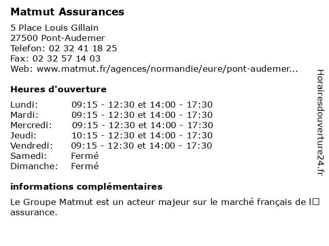 MATMUT à Pont Audemer: adresse et heures d'ouverture