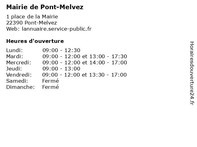 Mairie de Pont-Melvez à Pont-Melvez: adresse et heures d'ouverture