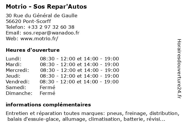 Motrio - Sos Repar'Autos à Pont-Scorff: adresse et heures d'ouverture