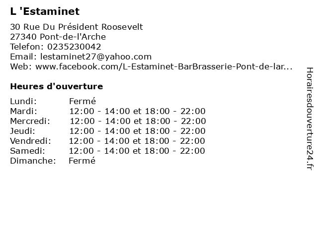 L 'Estaminet à Pont-de-l'Arche: adresse et heures d'ouverture