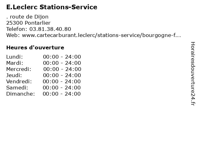 E.Leclerc Stations-Service à Pontarlier: adresse et heures d'ouverture