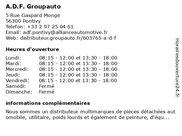 A.D.F. Groupauto à Pontivy: adresse et heures d'ouverture