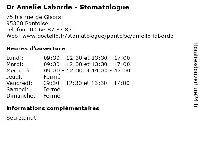 Dr Amelie Laborde - Stomatologue à Pontoise: adresse et heures d'ouverture