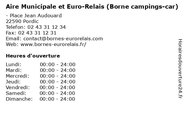 Aire Municipale et Euro-Relais (Borne campings-car) à Pordic: adresse et heures d'ouverture
